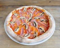 Pizza di prosciutto e funghi (familiar)