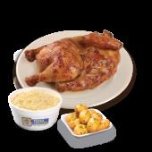 Medio pollo + papas + ensalada de col GRATIS
