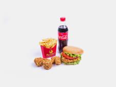 Зингер бургер+3 крыла+фри+напиток+кетчуп