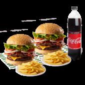 2 hamburguesas súper Sandry + 2 papas fritas + gaseosa (1.35 lt.)