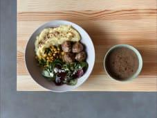 Ланч з мітболами, картопляним пюре та грибним крем-супом (600г)