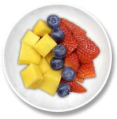 Bowl de fruta recién cortada