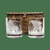 Lion Elephant Etched Whiskey Glass Set