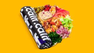 Kebab de pui cu salată de vinete in lipie