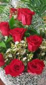 Ramo de 6 Rosas Rojas con paniculatas blancas y en papel estilo red