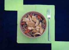 Farro lenticchie e pollo marinato