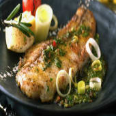 Grilled Fish (boneless)with garlic butter sauce