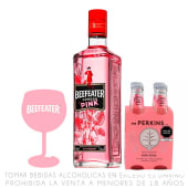 Beefeater Pink 750Ml +  Four Pack Mr Perkins 200 Ml +Copa