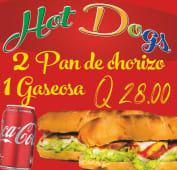 2 panes con chorizo + Coca-Cola (330 ml.)