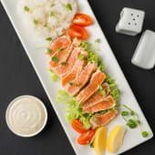 Лосось татакі з рисом, салатом та чері (270г)