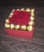 Box Carrée Roses Rouge + Chocolat