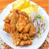 Chicharrón de pescado con arroz y yuca frita