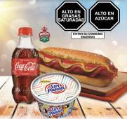 Frankfurter + Sin Parar 170ml + Coca Cola 300ml