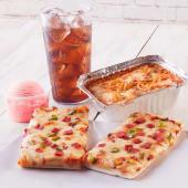 Glovo Menú: 2 Porciones de Pizza + Pasta + Helado de 1 bola + Bebida