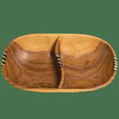 Divided Oval Olive Wooden Bowl