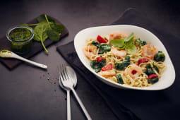 Makaron Gamberetti e spinaci z pastą Campanelle