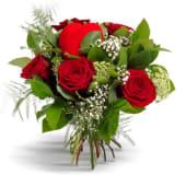 Seis rosas con corazón