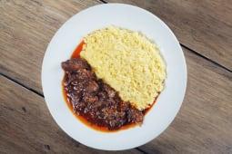 Risotto a la Milanese con carne asada