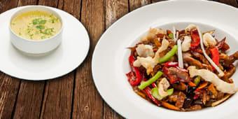 Supa de pui cu taitei + wok de pui + Cola