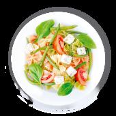 Паста Песто вегетаріанська з фетою і томатами
