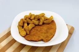 Cotoletta di pollo con patate a spicchio