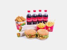 Бургер 2 шт+сэндвич 2 шт+12 крыльев+2 бол.фри+4 шт напитка 0,5 л+соус