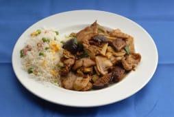 Porco com Cogumelos Chineses e Arroz