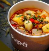 Ciorbă de cartofi cu tarhon și afumătură