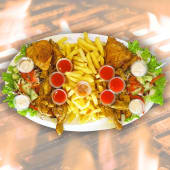 2 full chicken + X large chips + large salad + 2l soda
