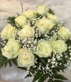 Ramo 12 rosas blancas luz