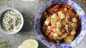 Рис басматі з креветками і омлетом тамаго (350г)