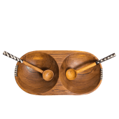 Divided Olive Wooden Bowl and Spoons