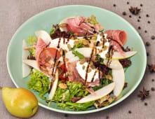 Мікс-салат з грушею, пармською шинкою і вершковим сиром (250г)