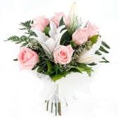 6 Rosas Rosas Tallo Medio + Lilium