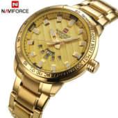 b7fe4ae68db6 Naviforce golden stainless steel strap mens wrist watch