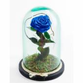 Rosa eterna azul en cristal