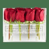 Rosas rojas con caja acrílica (16 uds)
