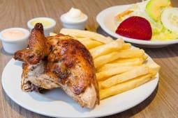 2x1 en 1/4 de pollo a la brasa + papas + ensalada + salsas