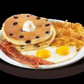Blueberry pancakes breakfast