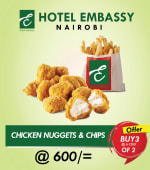 Buy 2 chicken nuggets+ chips Get 1 Free