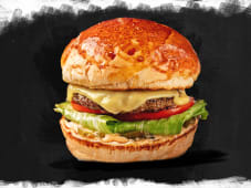 Cheeseburger i pomfrit