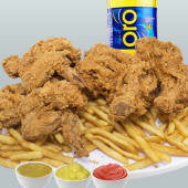 Pollo entero + papas fritas + 1 gaseosa (1 lt.)