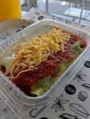 Canelones de calabaza y choclo con salsa y queso