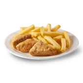 3 sticks de pollo y papa frita pequeña