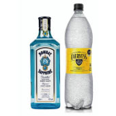 Gin Bombay 750 ml + Agua tónica 1.5 lt