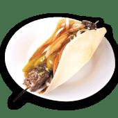 Sándwich arus de pincho de picaña con hummus