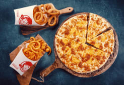 1X 4 cheese Pizza + 1X Onion rings + 1x Curly Fries