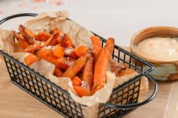 Fried yams, sweet garlic sauce
