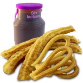 Chocolate sin lactosa (500 ml.) + 3 porras + 6 churros