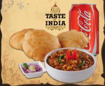 Chole Bhature (3 puri+chana+coca-cola)